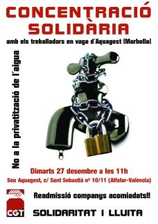 27-D Alfafar (València): Concentració solidària amb els treballadors en vaga d'Aquagest Marbella.